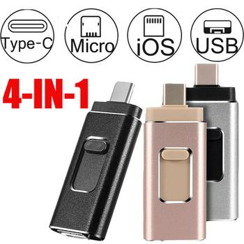 Hotsale 4 in 1 Usb OTG Stick Type C Pen Drive 64GB, 128GB un 256 gb USB Flash Drive 3.0 High Speed Pendrive Tipa C iphone Ierīces